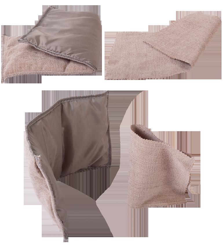 Сравнение заготовки трехслойного внешнего чехла и однослойной ткани