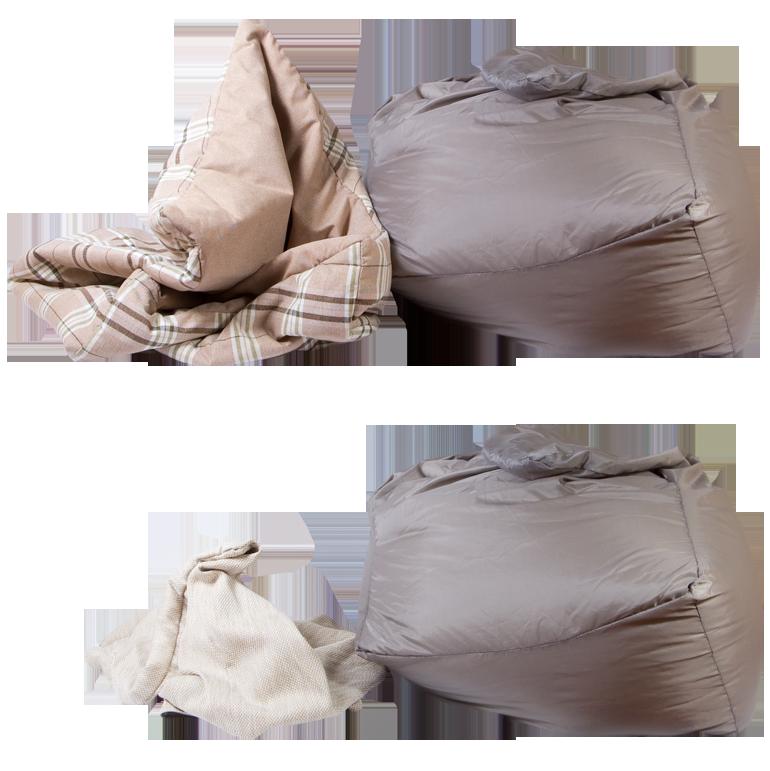 Сравнение кресел-пуфиков с разной конструкцией внешних чехлов