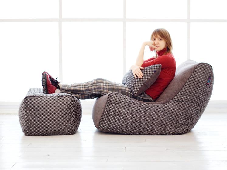 Комплект бескаркасной мебели Stone Seat, выполненный из жаккарда с шениллом