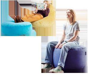 Варианты использование кресла-пуфика серии Bag и пуфа Drum
