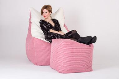 Комплект бескаркасной мебели из большого кресла серии Bar и пуфа для ног