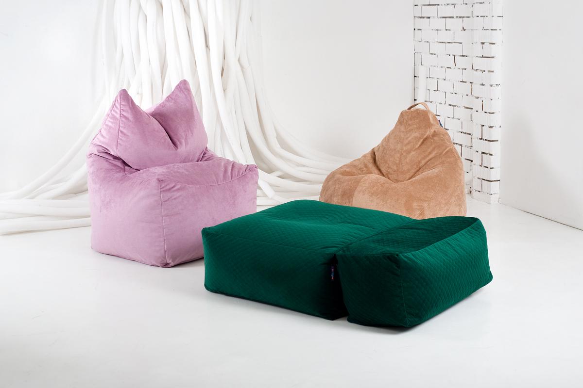 Бескаркасные кресла-мешки бинбэг, трон и пуф-трансформер
