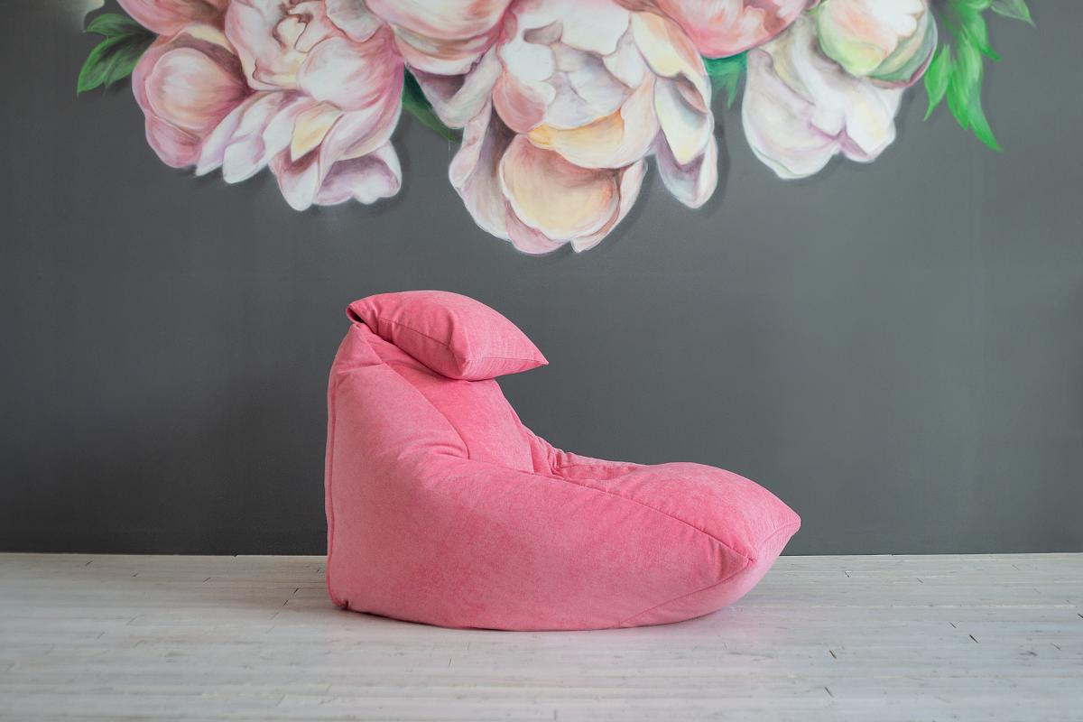 Кресло-мешок из розового микровельвета
