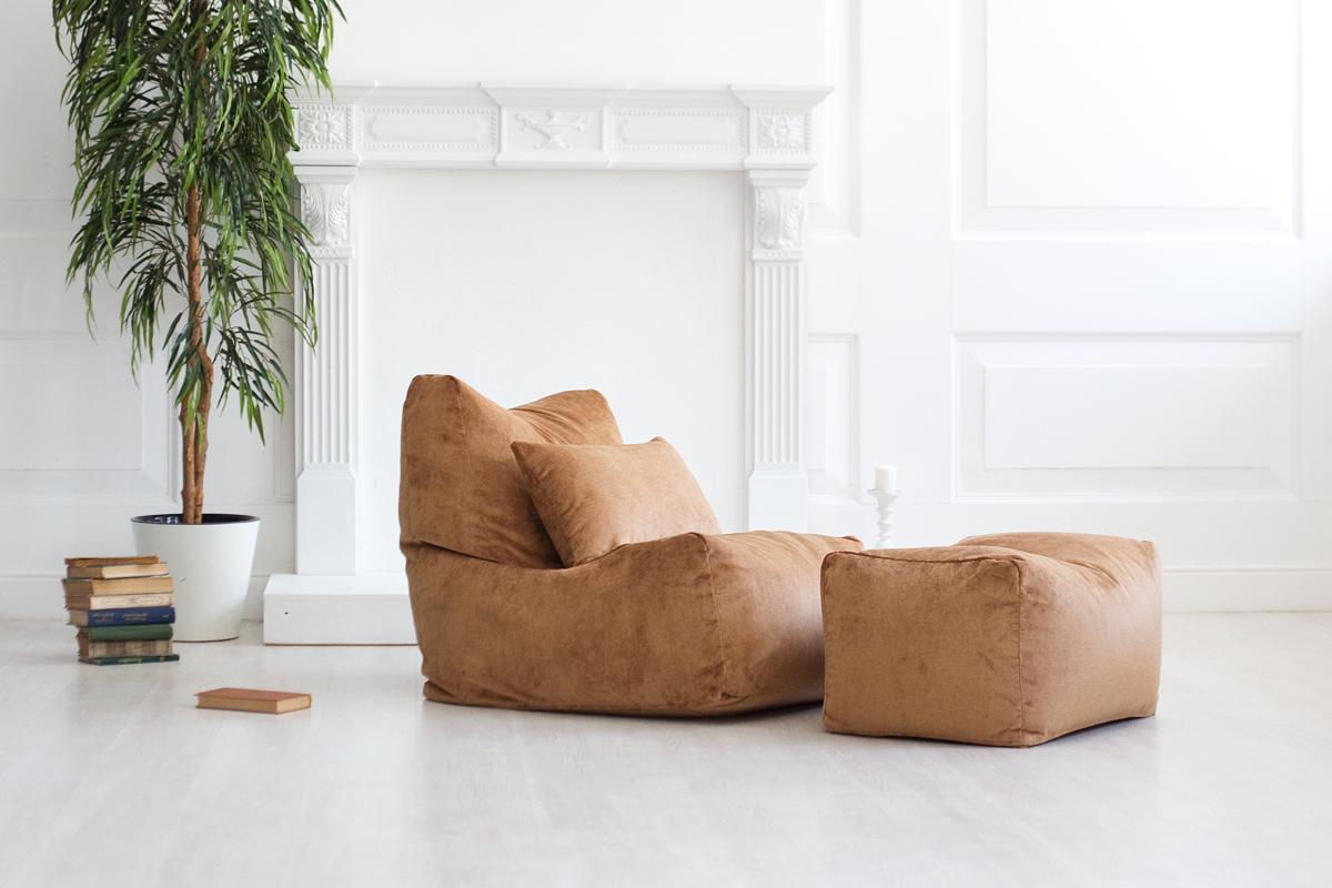 Комплект бескаркасное мебели - кресло-мешок, пуфик и подушка из велюра