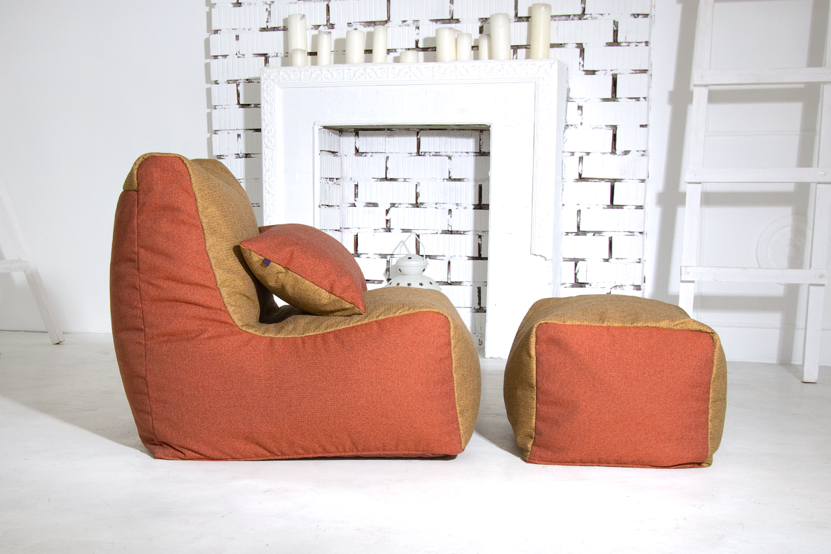 Яркий комплект бескаркасной мебели из рогожки