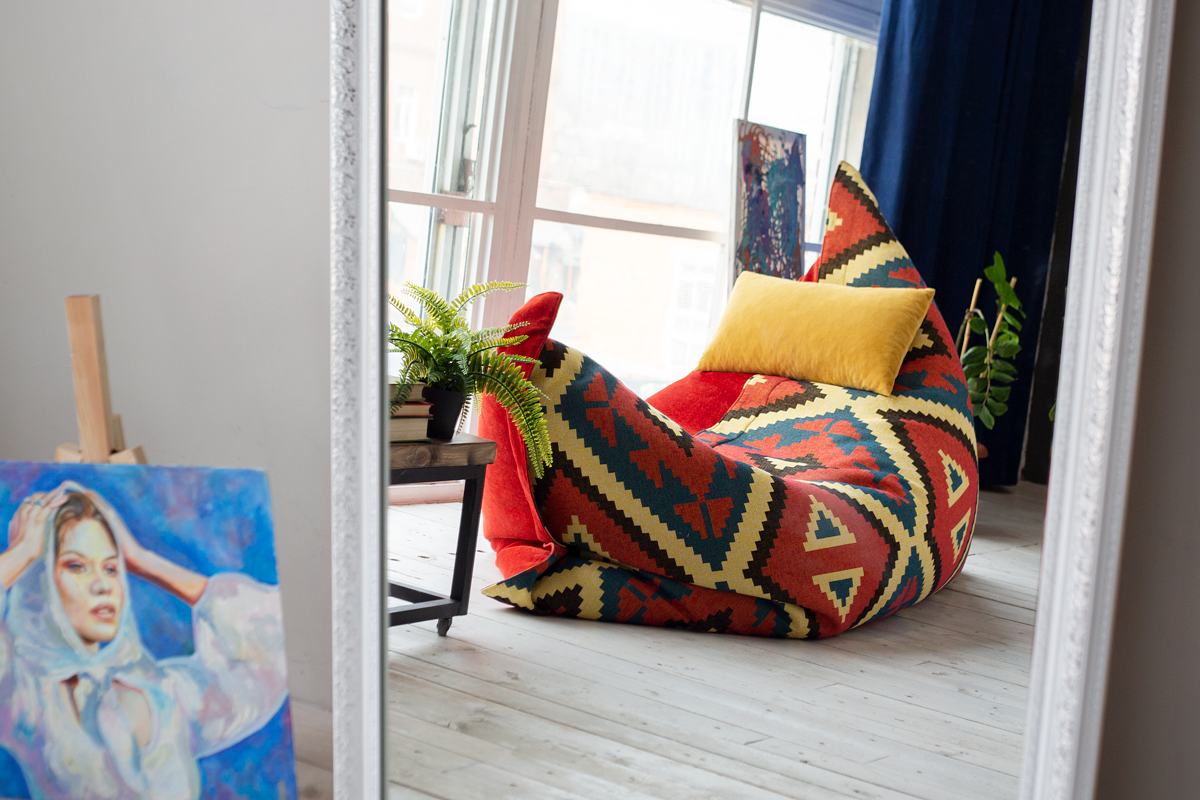 Дизайнерский кресло-мешок в форме подушки с ромбами Tortuga Pad