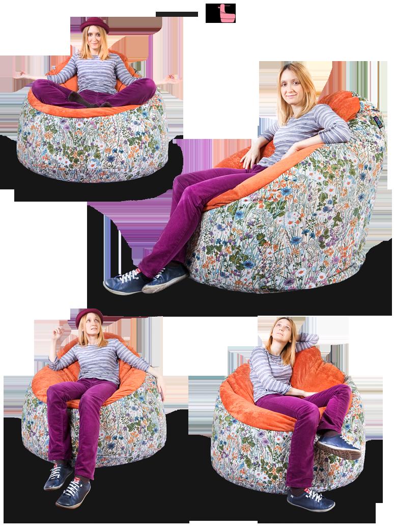 Варианты посадки в кресле-пуфике серии Snug