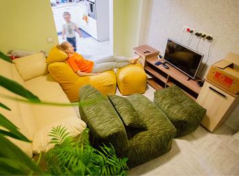 Два увеличенных бескаркасных комплекта Seat из шенилла, Нахабино