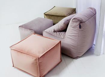 Комплект бескаркасной мебели из нежного велюра