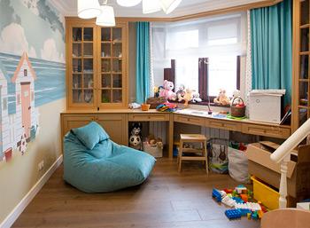 Бескаркасное лаундж-кресло цвета тиффани в детскую комнату